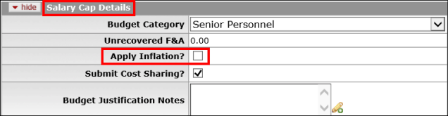 Msu office of sponsored programscontract and grant administration apply inflation checkbox highlighted on the salary cap details panel maxwellsz