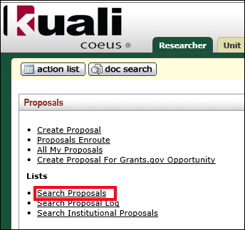 The Search Proposals link highlighted under the Proposal subsection of the Kuali Coeus main menu